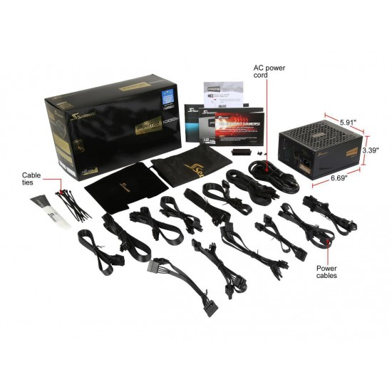 Seasonic PRIME Ultra 1000W 80+ Gold Power Supply, Full Modular, 135mm FDB Fan w/Hybrid Fan Control, ATX12V & EPS12V, Power On Self Tester, SSR-1000GD