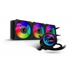 AORUS RGB AIO Liquid Cooler 360, 360mm Radiator, Triple 120mm Windforce PWM Fans, Customizable Full Color LCD Display, Advanced RGB Lighting and Control, Intel 115X/2066, AMD AM4, TR4