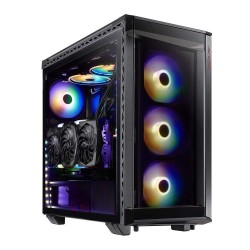 XPG Battle Cruiser Mid-Tower RGB Glass Panel PC Case Black (BATTLECRUISER-BKCWW)