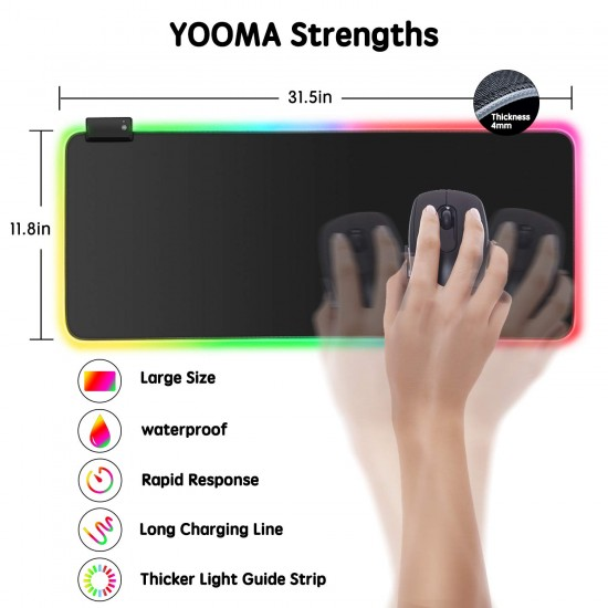 RGB Gaming Mouse Pad, YooMa 14 Lighting Modes 2 Brightness Levels Large Extended Soft LED Mouse Pad, Waterproof Computer Keyboard Mousepads Mat, Non-Slip Rubber Base and Durable Stitched Edges