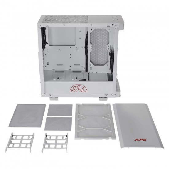 XPG Invader Mid-Tower Brushed Aluminum PC Case White (Invader-WHCWW)