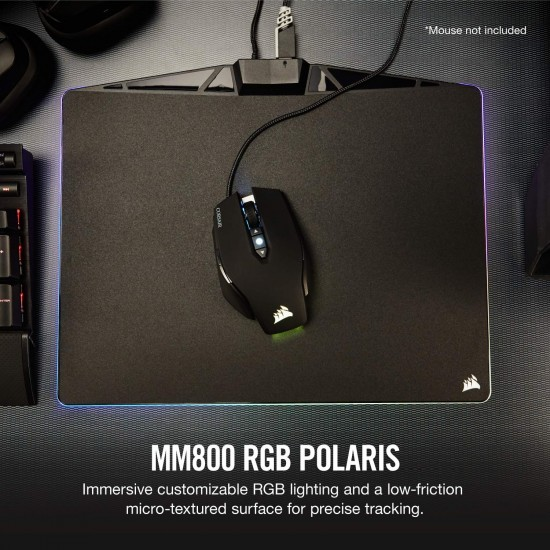 CORSAIR MM800 Polaris RGB Mouse Pad - 15 RGB LED Zones - USB Passthrough - High-Performance Mouse Pad Optimized for Gaming Sensors