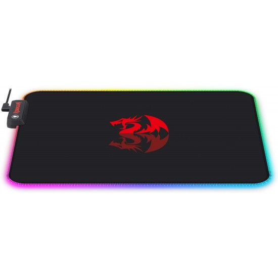 Redragon P023 RGB LED Large Gaming Mouse Pad Soft Matt with Nonslip Base, Stitched Edges (330 x 260 x 3mm)