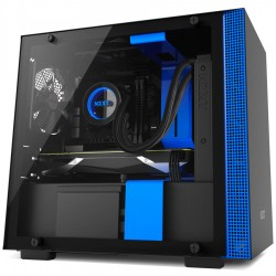 NZXT H200 - Mini-ITX PC Gaming Case - Tempered Glass Panel - All-Steel Construction - Enhanced Cable Management System - Water Cooling Ready - Black/Blue